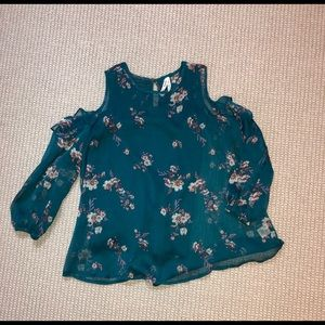 Mudd Tops - Mudd Cold Shoulder Floral Blouse with Tank